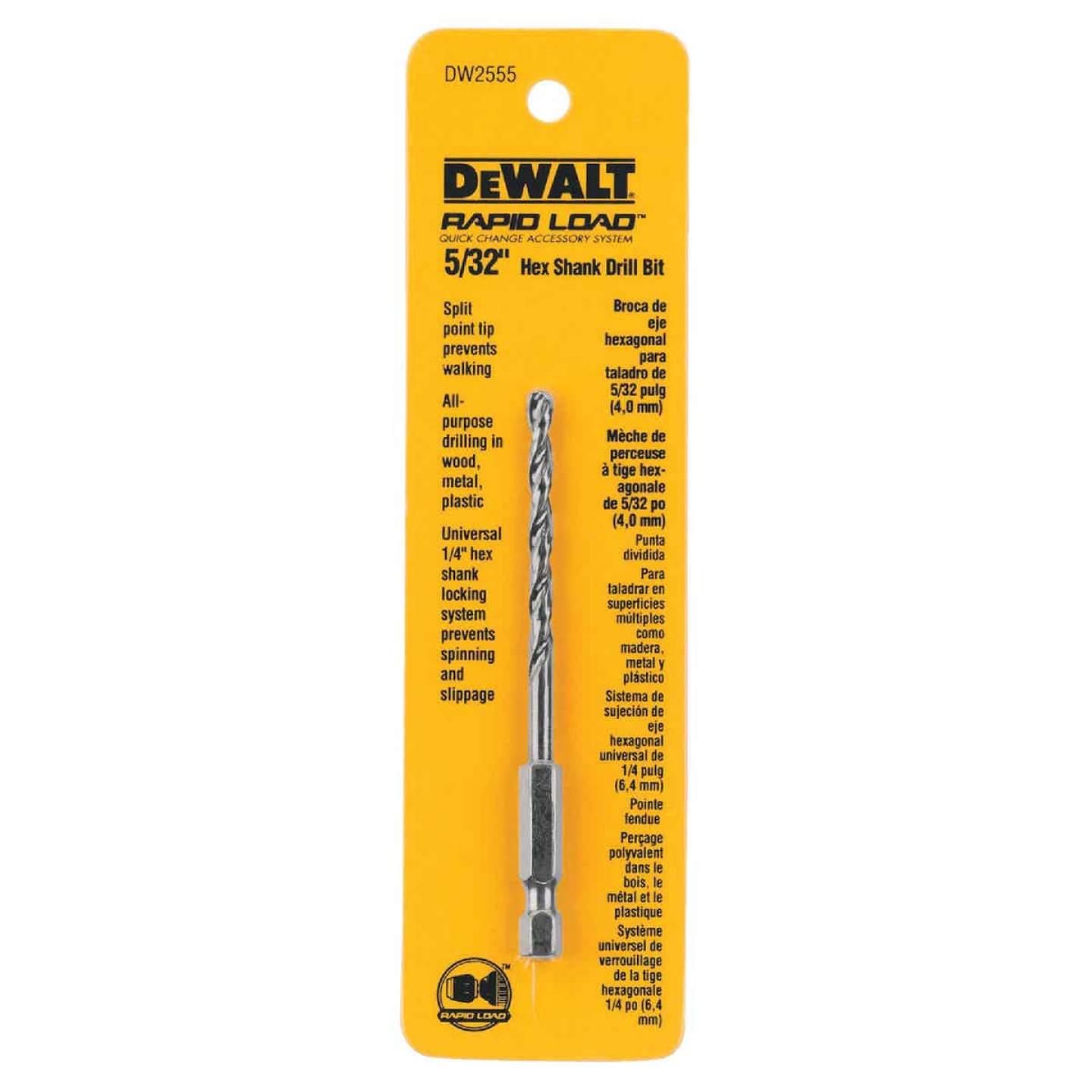 DeWalt Rapid Load 5/32 In. Black Oxide Hex Shank Drill Bit Image 1