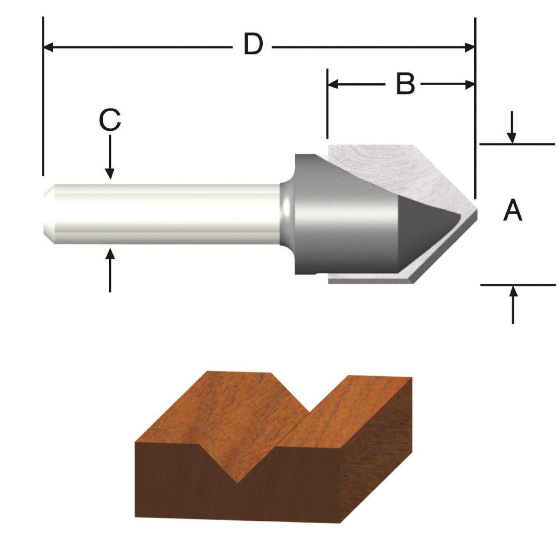 Vermont American Carbide Tip 60 Degree V-Groove Bit Image 1
