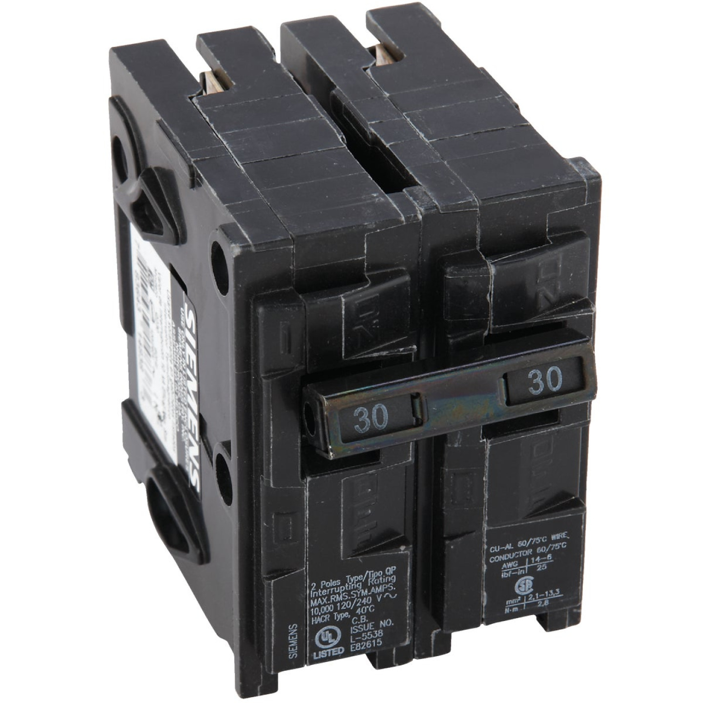 Connecticut Electric 30A Double-Pole Standard Trip Interchangeable Packaged Circuit Breaker Image 1
