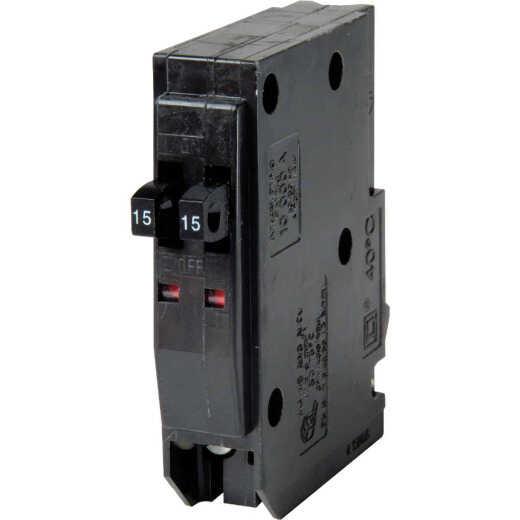 Square D QO 15A/15A Single-Pole Standard Trip Tandem Circuit Breaker