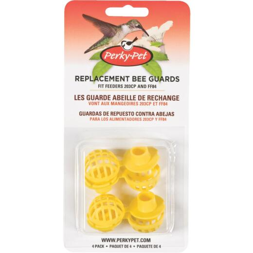 Perky-Pet Yellow Plastic Hummingbird Feeder Replacement Bee Guard (4-Pack)
